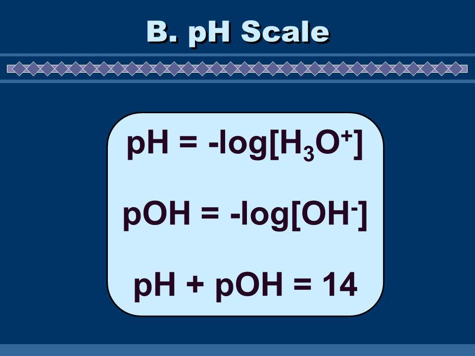 pH = -log[H3O+] pOH = -log[OH-] pH + pOH = 14
